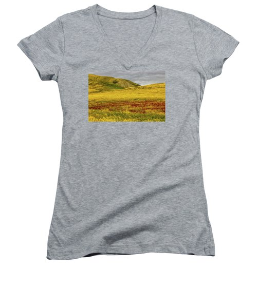 Women's V-Neck T-Shirt (Junior Cut) featuring the photograph Carrizo  Plain Super Bloom 2017 by Peter Tellone