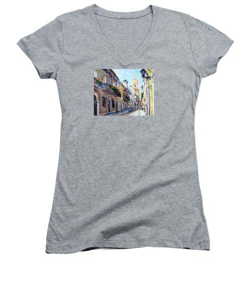 Cartagena Colombia Women's V-Neck T-Shirt (Junior Cut) by Alexandra Maria Ethlyn Cheshire
