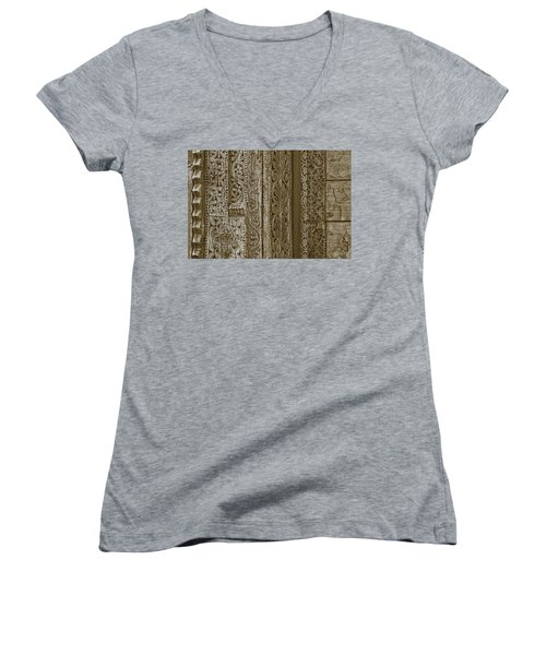 Carving - 1 Women's V-Neck T-Shirt (Junior Cut) by Nikolyn McDonald