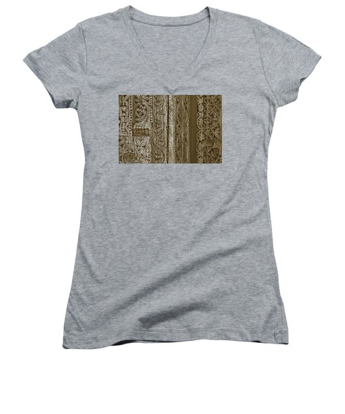 Carving - 2 Women's V-Neck T-Shirt (Junior Cut) by Nikolyn McDonald