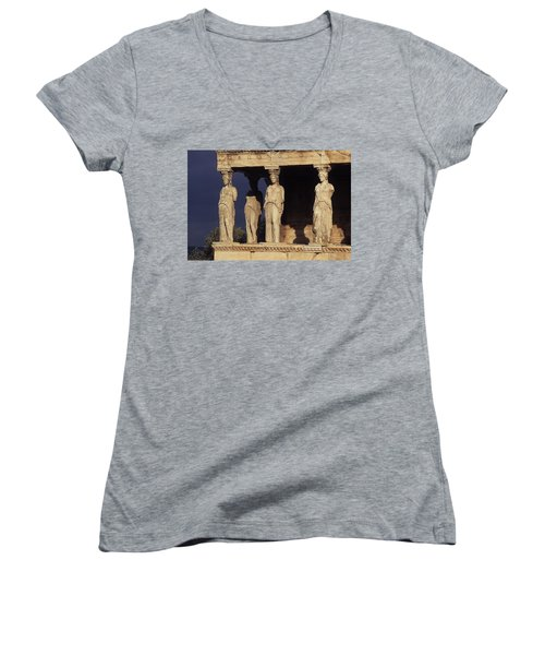 Caryatides At The Acropolis Women's V-Neck