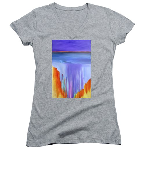 Women's V-Neck T-Shirt (Junior Cut) featuring the painting Casade by Jo Appleby