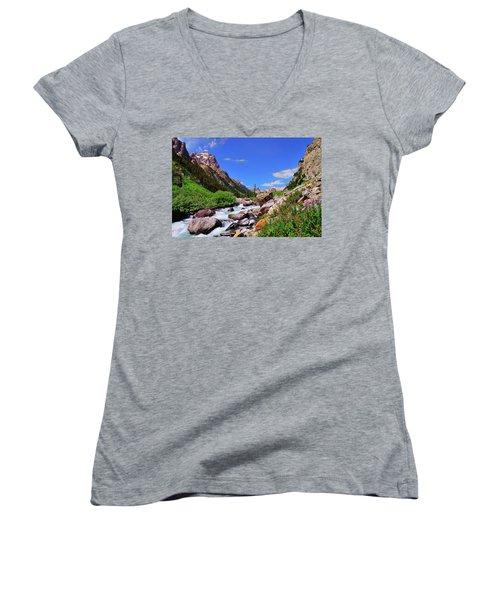 Cascade Canyon Women's V-Neck T-Shirt (Junior Cut) by Greg Norrell