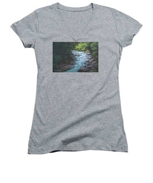 Women's V-Neck T-Shirt (Junior Cut) featuring the painting Cascading Stream by Kim Lockman