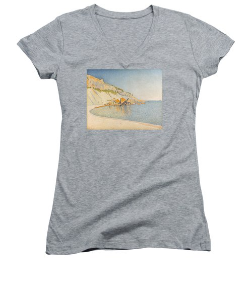 Women's V-Neck T-Shirt (Junior Cut) featuring the painting Cassis. Cap Lombard. Opus 196 by Paul Signac