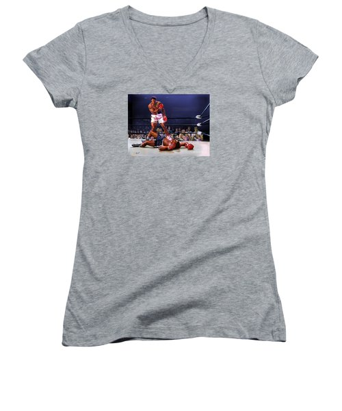 Cassius Clay Vs Sonny Liston Women's V-Neck (Athletic Fit)