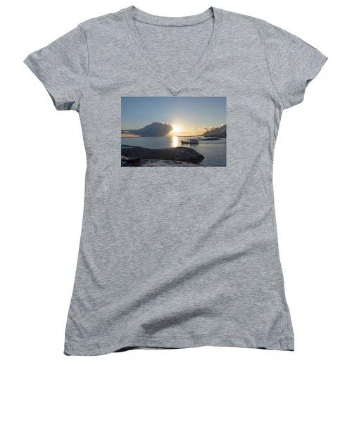 Cast A Giant Shadow... Reine Lofoten Women's V-Neck T-Shirt