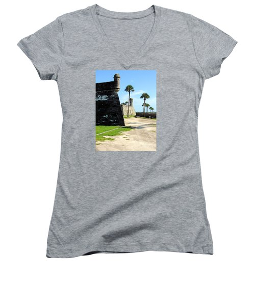 Castillo De San Marcos St Augustine Florida Women's V-Neck T-Shirt (Junior Cut) by Bill Holkham