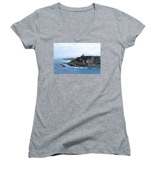 Castillo San Felipe Del Morro Women's V-Neck T-Shirt (Junior Cut)