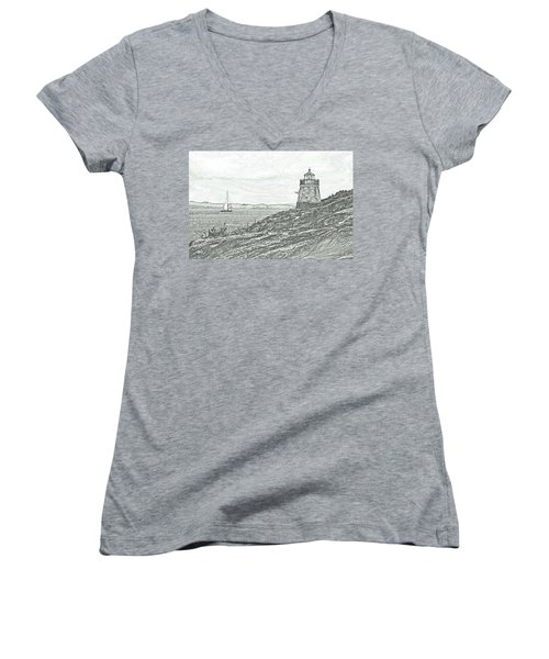 Castle Hill Lighthouse Women's V-Neck (Athletic Fit)