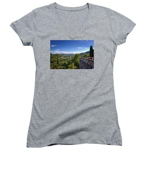 Castle In Chianti, Italy Women's V-Neck T-Shirt