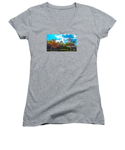Women's V-Neck T-Shirt (Junior Cut) featuring the photograph Castle In Osaka by Pravine Chester