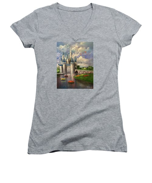 Castle Of Dreams Women's V-Neck T-Shirt (Junior Cut)
