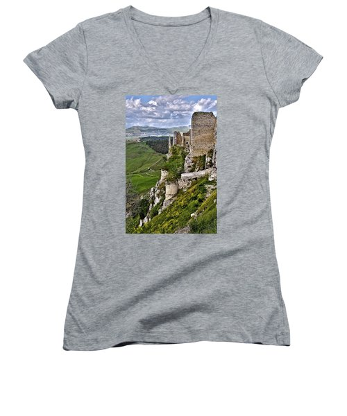 Castle Of Pietraperzia Women's V-Neck T-Shirt (Junior Cut) by Patrick Boening
