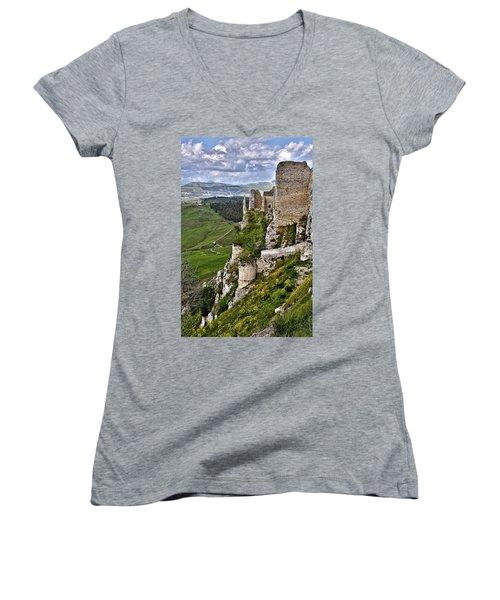 Castle Of Pietraperzia Women's V-Neck (Athletic Fit)