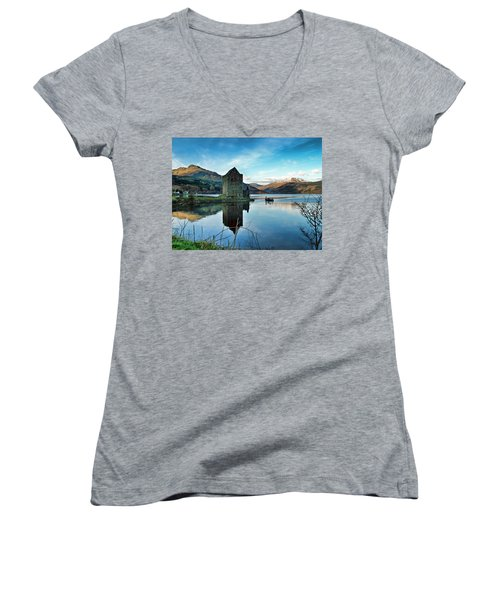 Castle On The Loch Women's V-Neck T-Shirt (Junior Cut) by Lynn Bolt