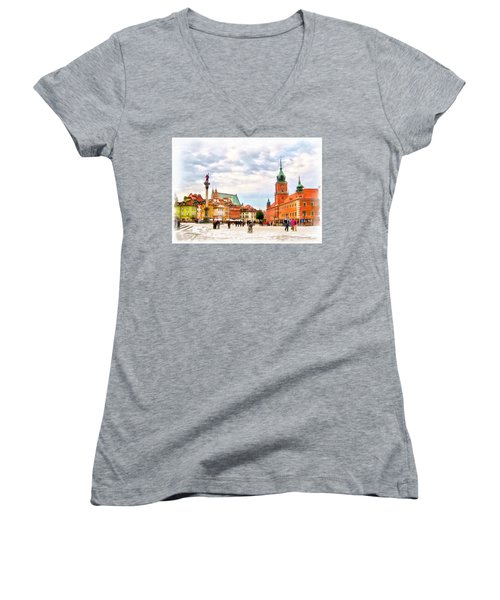 Castle Square, Warsaw Women's V-Neck T-Shirt (Junior Cut) by Maciek Froncisz