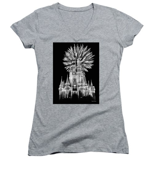 Castle With Fireworks In Black And White Walt Disney World Mp Women's V-Neck T-Shirt (Junior Cut) by Thomas Woolworth