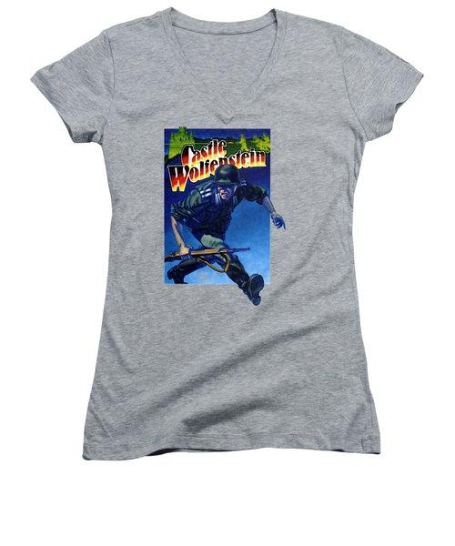 Castle Wolfenstein Shirt Women's V-Neck (Athletic Fit)