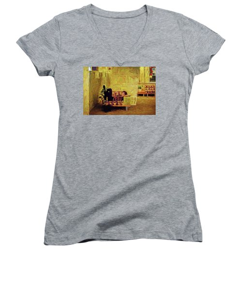 Women's V-Neck T-Shirt featuring the photograph Casual Student by Lewis Mann