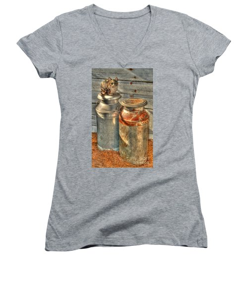 Cat And The Churns Women's V-Neck (Athletic Fit)