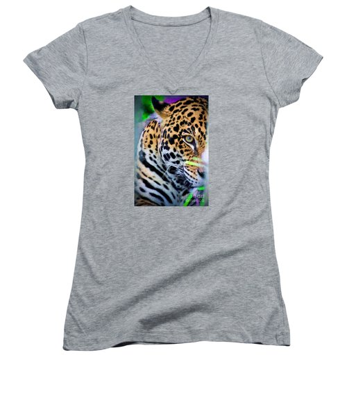 Women's V-Neck T-Shirt (Junior Cut) featuring the painting Cat Eye by Judy Kay