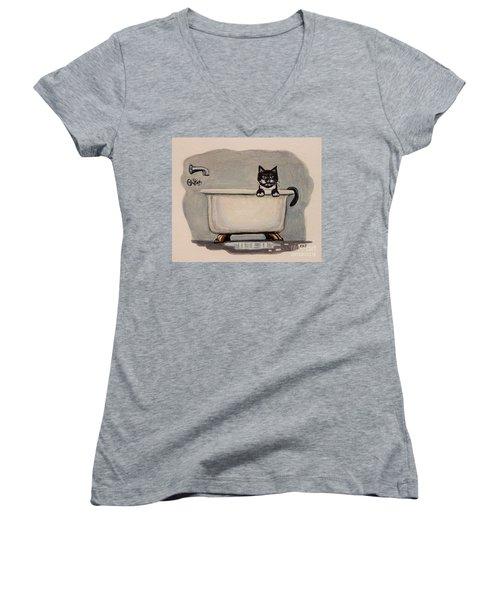 Cat In The Bathtub Women's V-Neck