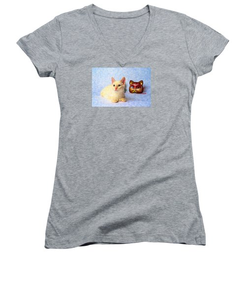Cat Mask Women's V-Neck T-Shirt (Junior Cut) by Andre Faubert