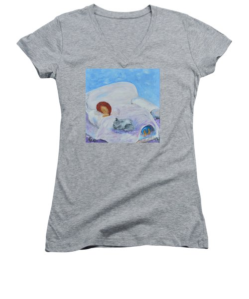 Women's V-Neck T-Shirt (Junior Cut) featuring the painting Cat Nap  by Reina Resto
