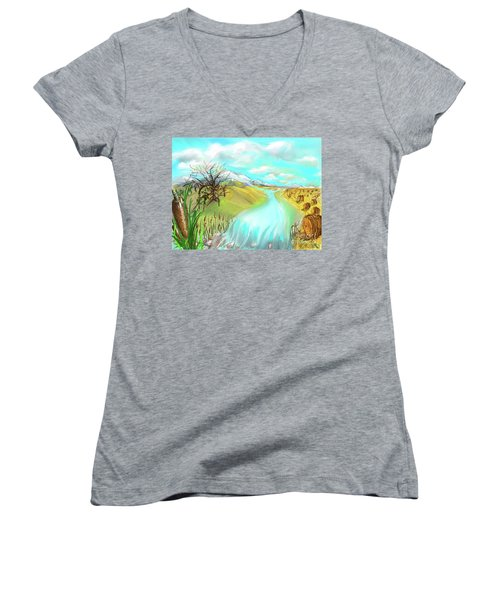 Catails Before The Fisherman Women's V-Neck T-Shirt