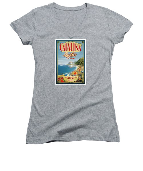 Catalina By Air Women's V-Neck T-Shirt (Junior Cut) by Nostalgic Prints