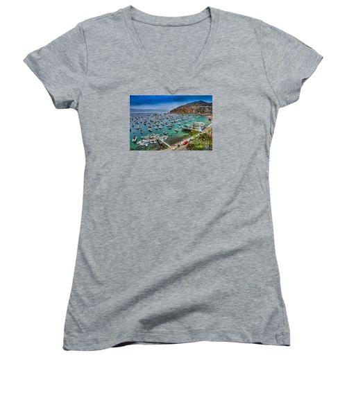 Catalina Island  Avalon Harbor Women's V-Neck T-Shirt (Junior Cut) by David Zanzinger