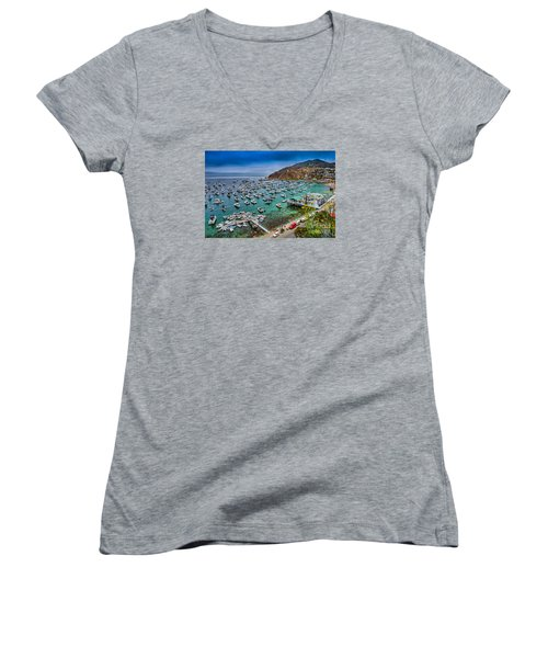 Catalina Island  Avalon Harbor Women's V-Neck (Athletic Fit)