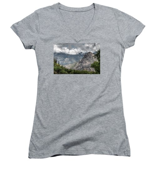 Catalina Mountains Women's V-Neck T-Shirt (Junior Cut) by Tam Ryan
