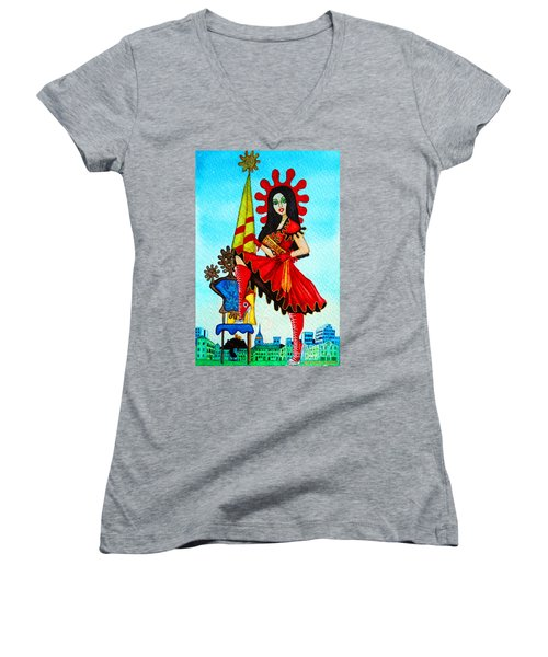 Women's V-Neck T-Shirt (Junior Cut) featuring the painting Catalan Girl In Converse by Don Pedro De Gracia