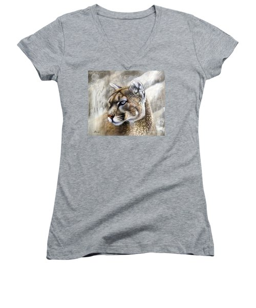 Catamount Women's V-Neck T-Shirt (Junior Cut) by Sandi Baker