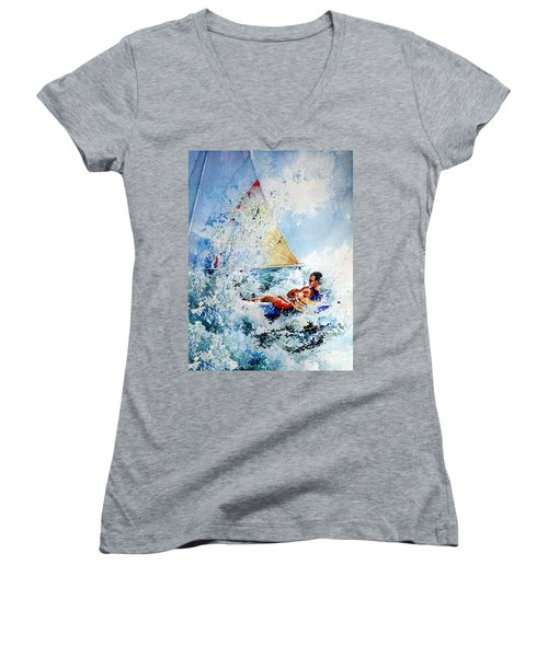 Women's V-Neck (Athletic Fit) featuring the painting Catch The Wind by Hanne Lore Koehler