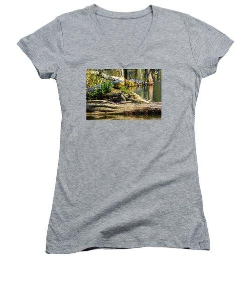 Catchin Some Rays Women's V-Neck T-Shirt (Junior Cut) by Kimo Fernandez