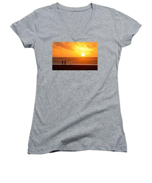 Catching A Setting Sun Women's V-Neck T-Shirt (Junior Cut) by AJ Schibig