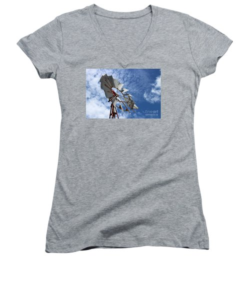 Women's V-Neck T-Shirt featuring the photograph Catching The Breeze by Stephen Mitchell