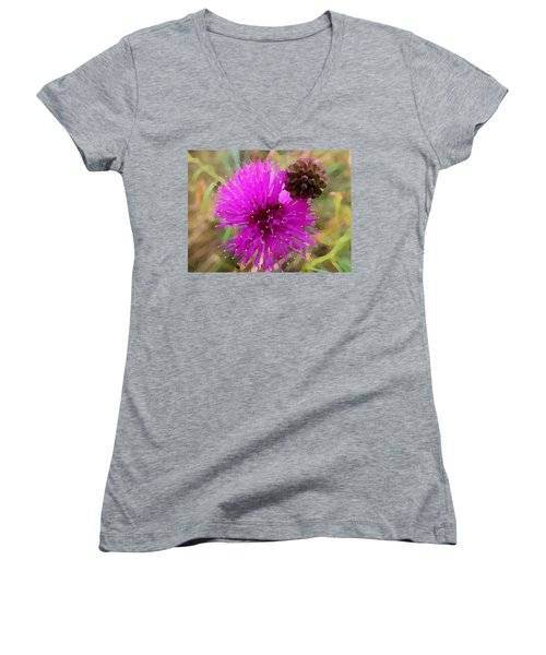 Women's V-Neck featuring the digital art Catclaw Pink Mimosa  by Shelli Fitzpatrick