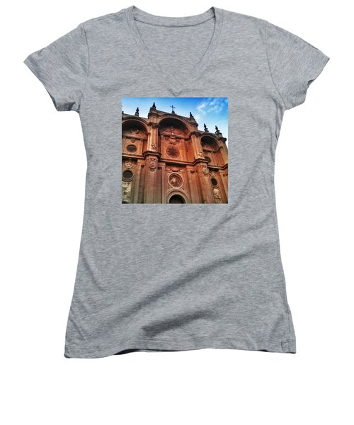 Catedral De #granada View From Plaza Women's V-Neck (Athletic Fit)