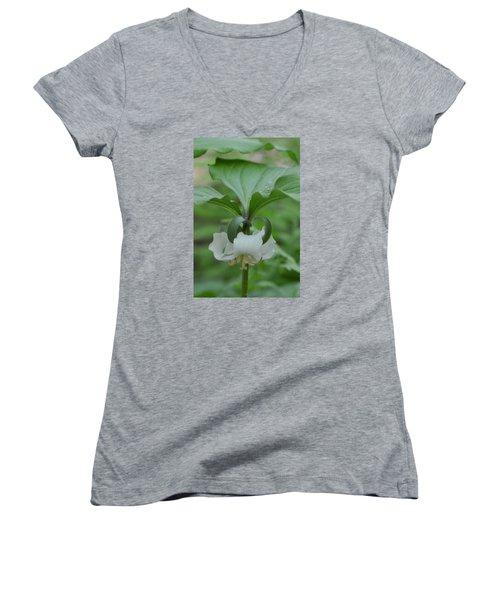 Women's V-Neck T-Shirt (Junior Cut) featuring the photograph Catesby Trillium by Linda Geiger