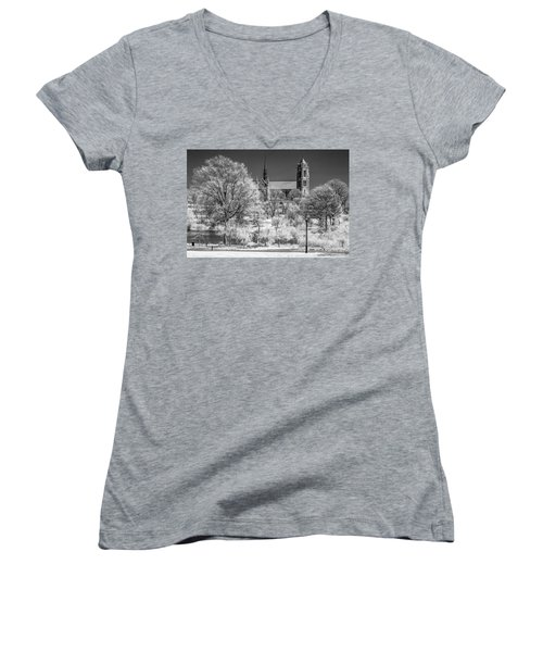 Women's V-Neck T-Shirt (Junior Cut) featuring the photograph Cathedral Basilica Of The Sacred Heart Ir by Susan Candelario