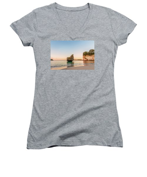 Cathedral Cove, New Zealand Women's V-Neck T-Shirt