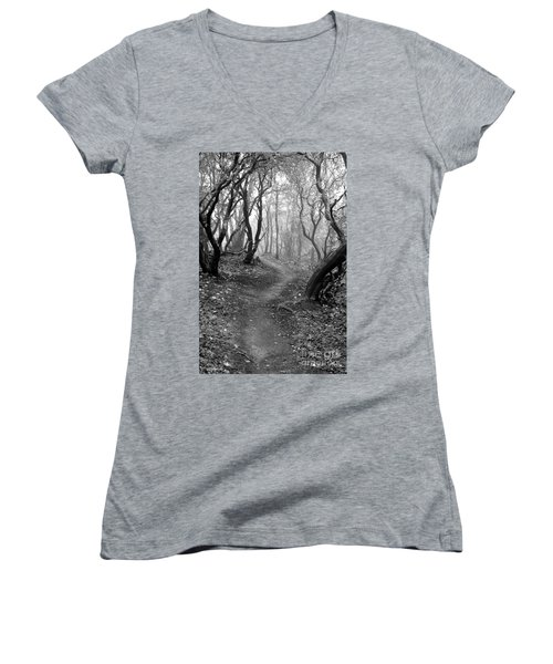 Cathedral Hills Serenity In Black And White Women's V-Neck T-Shirt (Junior Cut) by Marie Neder