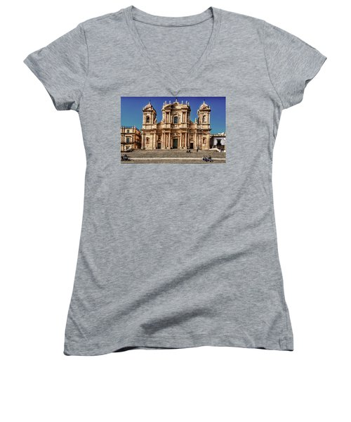 Cathedral II Women's V-Neck T-Shirt (Junior Cut) by Patrick Boening