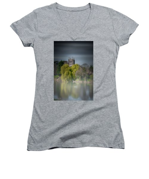Cathedral In The Mist Women's V-Neck (Athletic Fit)