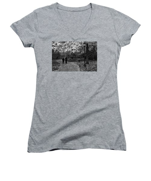 Cathedral Park In Fall Bw Women's V-Neck