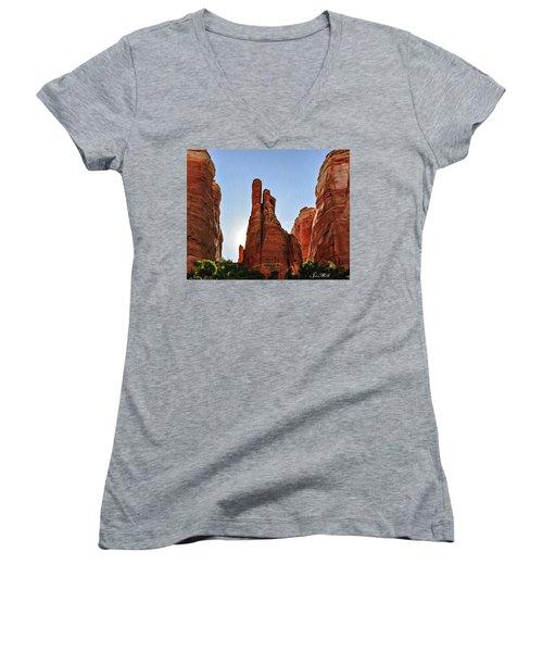 Cathedral Rock 05-155 Women's V-Neck T-Shirt (Junior Cut) by Scott McAllister